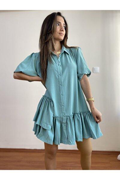 Kadın Mavi Eteği Fırfırlı Gömlek Elbise