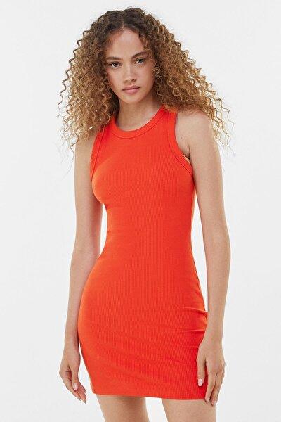 Kadın Kırmızı Fitilli Mini Elbise