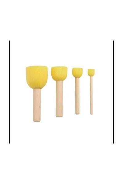 Sünger Tampon Fırça Seti 4 Adet Stencil Fırçası - Pon Pon Fırça