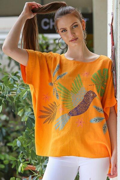 Kadın Turuncu  Sıfır Yaka Yalı Çapkını Kuş Desenli Salaş Dokuma Bluz M10010200BL95418