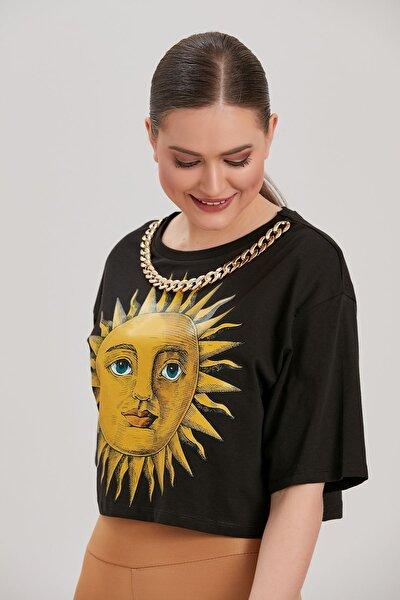 Kadın Siyah Baskılı T-Shirt YL-TS99958