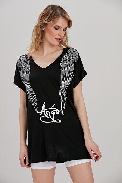 Kadın Siyah Baskılı T-Shirt YL-TS99761