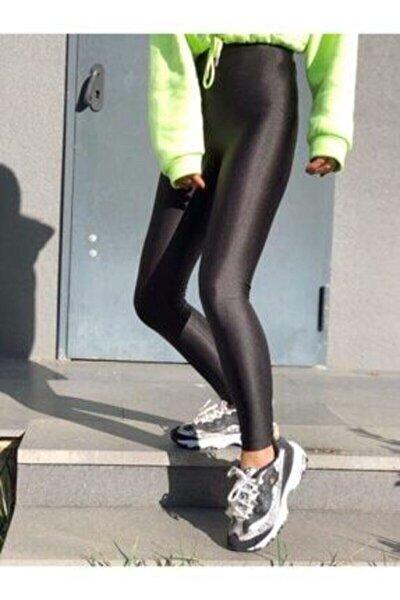 Kadın Siyah Parlak Yüksek Bel Toparlayıcı Disko Tayt