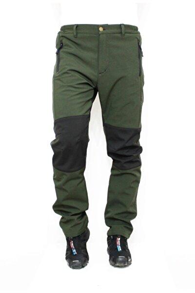 Unisex  Haki Siyah  Softshell Pantolon Su Rüzgar Geçirmez Polarlı