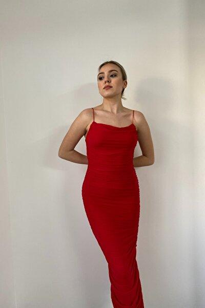 Kırmızı Ip Askılı Yırtmaçlı Midi Elbise