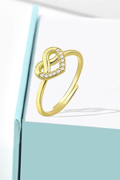 Kadın Minimalist Zirkon Taşlı Sonsuzluk Kalp Model Gold Ayarlanabilir Yüzük