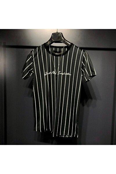 Erkek Siyah Çizgili Digital Baskılı  T-Shirt