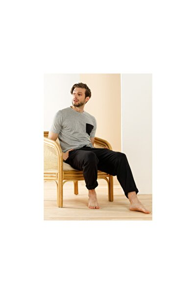 Siyah - Gri Carlo Pamuk Cep Detaylı Pijama Takımı S