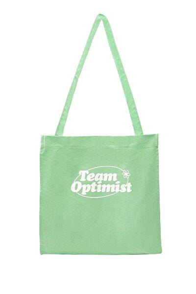 Kadın Yeşil Sloganlı Tote Çanta