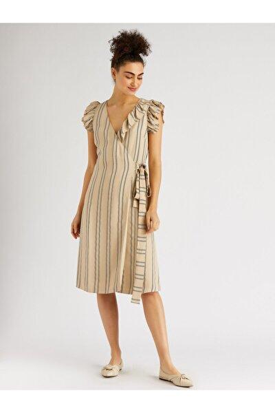 Kadın Bej Kolsuz Midi Anvelop Elbise
