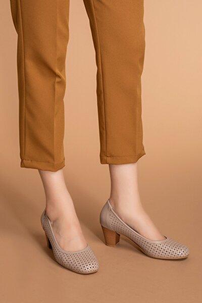 Kadın Vizon Hakiki Deri Klasik Topuklu Ayakkabı