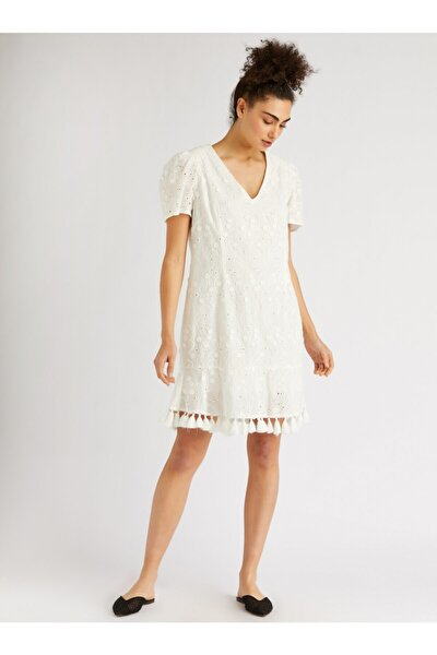 Kadın Ekru Püskül Detaylı Nakışlı Mini Elbise 9109-0126