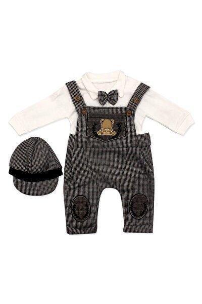 Erkek Bebek Kahverengi Kasketli Askılı Slopetli Takım 3 Lü