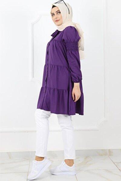 Kadın Mor Yakadan Kemerli Gömlek Tunik 0258