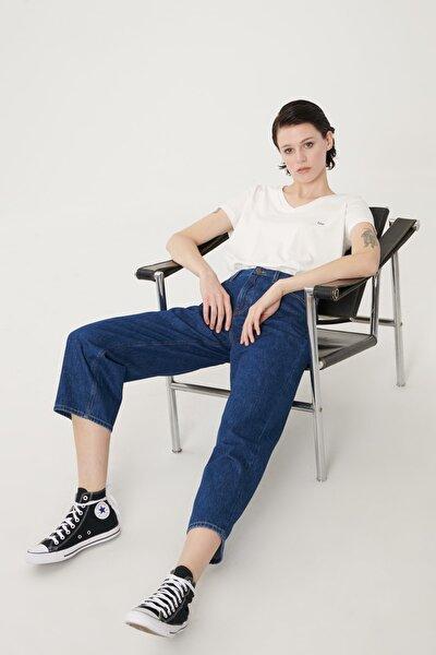 Kadın Mavi Wide Leg Denim Esnek Jean Kot Pantolon