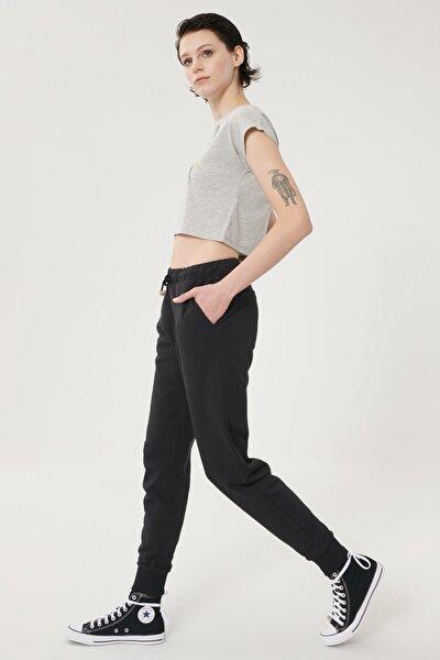 Kadın Siyah Regular Fit %100 Pamuk Jogger Pantolon