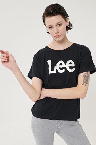 Kadın Siyah Kısa Kollu %100 Pamuk Grafik Desenli Sıfır Yaka Tişört
