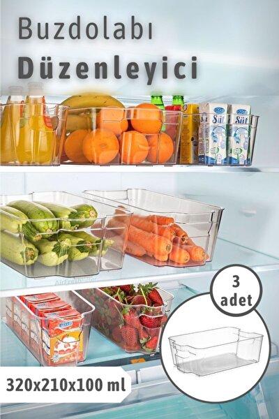 3 Adet Clear Buzdolabı & Dolap Içi Düzenleyici Organizer Büyük