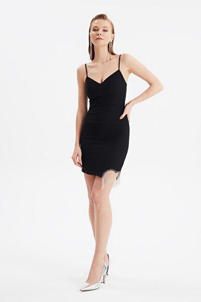 Siyah Taş Püskül Detaylı Elbise TPRSS21EL3043