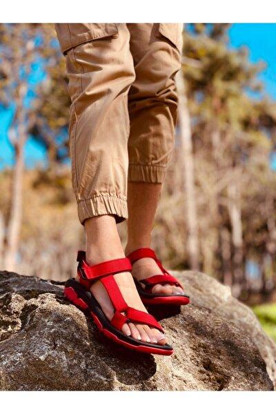 Kadın  Kırmızı (run) Cırtlı Düz Taban  Sandalet