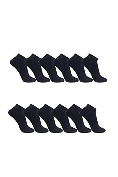 12 Çift Siyah %100 Pamuk Fıtness Unısex Patik-topuk Üstü Çorap 36-41 Numara