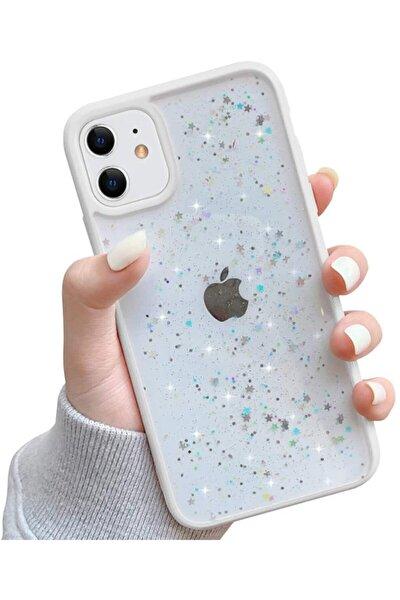 """Iphone 11 6.1"""" Kenarı Renkli Simli Darbe Önleyici Silikon Kılıf Beyaz"""