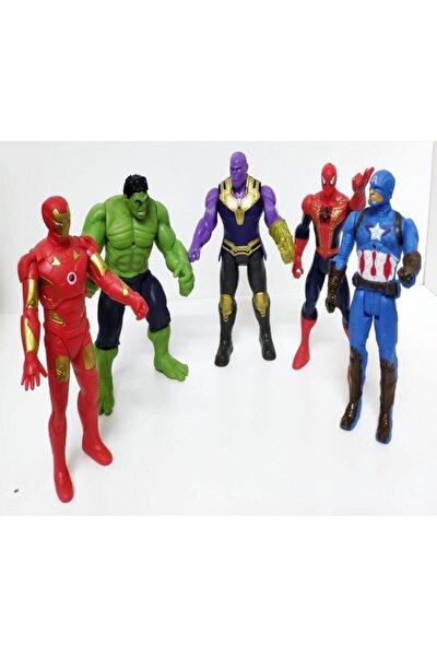 Thanos Örümcek Adam Ironman Hulk Oyuncak Işıksız 5li Set 15 Cm