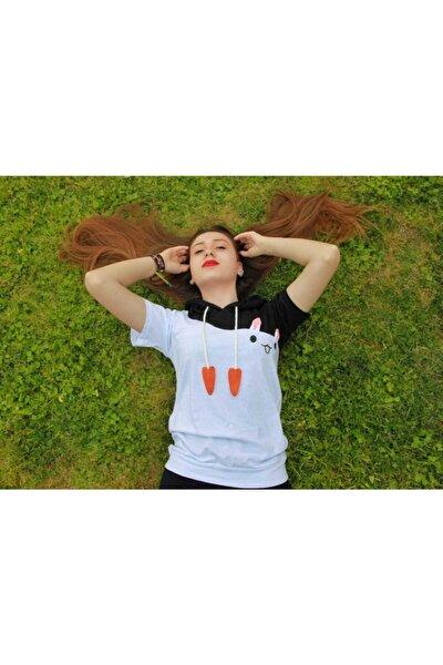Beyaz Tavşan Modelli Kapüşonlu Tshirt