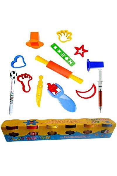 Oyun Hamuru Kalıpları + Playdough 6 Renk 300 Gr Oyun Hamuru Seti Ve Şırınga Mavi Tükenmez Kalem