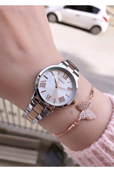 Kadın Gümüş-Rose Kol Saati +Bileklik
