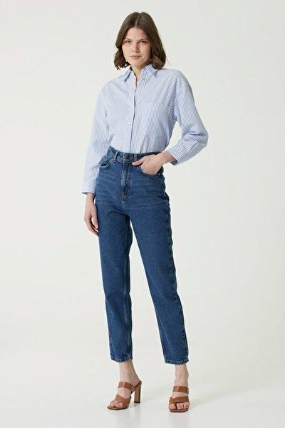 Kadın Straight Fit Lacivert Yüksek Bel Jean Pantolon 1078436
