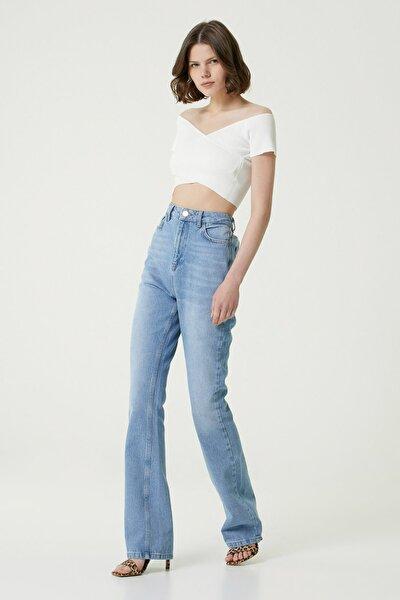 Kadın Basic Fit Mavi Yüksek Bel Bol Paça Pantolon 1078438
