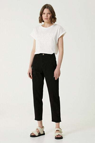 Kadın Cropped Fit Siyah Nakış Detaylı Jean Pantolon 1078433