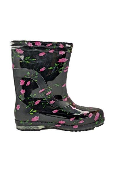 Kadın Mor Renk Çiçekli Iş Bahçe Yağmur Çizmesi
