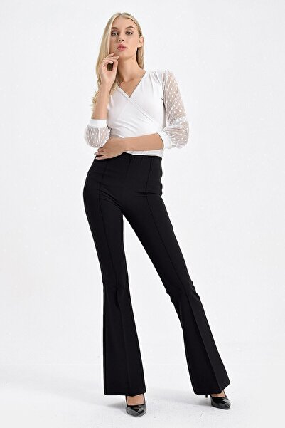 Kadın Siyah Yüksek Bel Önü Arka Dikişli İspanyol Pantolon