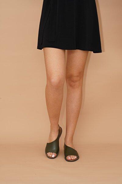 Kadın Haki Suni Deri  Sandalet