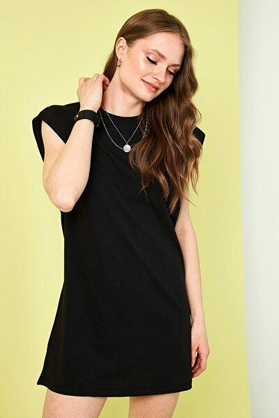 Kadın Siyah  Bisiklet Yaka % 100 Pamuk Mini T Shirt Elbise 6010018