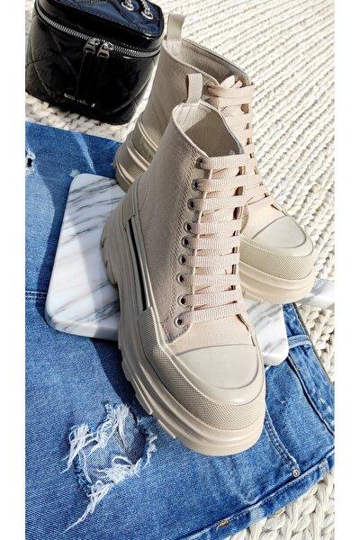 Kadın Bağcıklı Uzun Sneaker