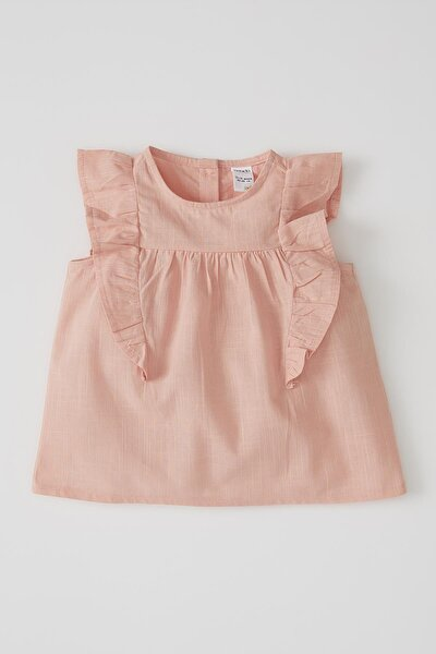Kız Bebek Kolsuz Basic Pamuklu Gömlek