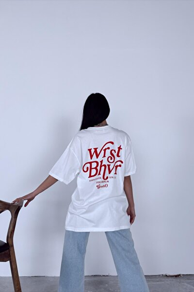 Beyaz Wrst Oversize T-shirt