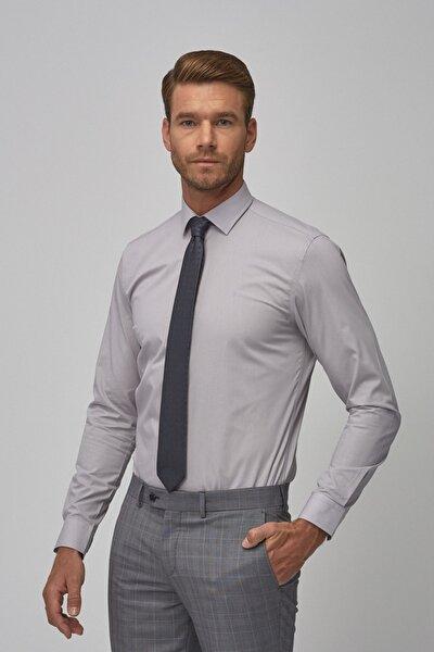 Erkek Gri Tailored Slim Fit Klasik Gömlek