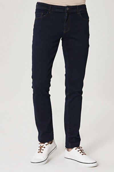 Erkek Koyu Lacivert Slim Fit Dar Kesim Denim Esnek Jean Kot Pantolon