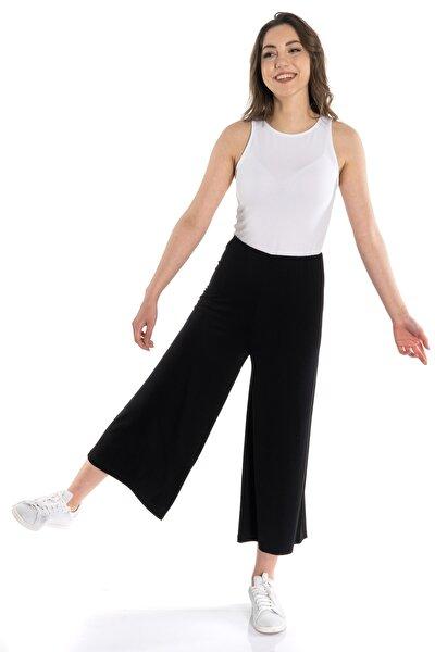 Siyah Örme Crop Pantolon