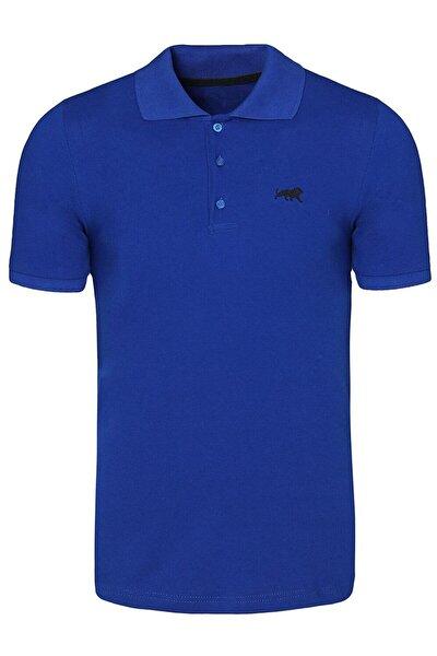 Erke Mavi Polo Yaka Tişört Basic Tshırt