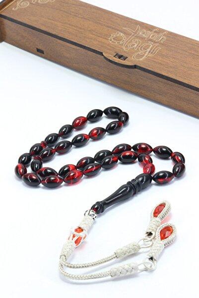 Erkek Kırmızı Siyah Ateş Kehribar Tesbih T100271