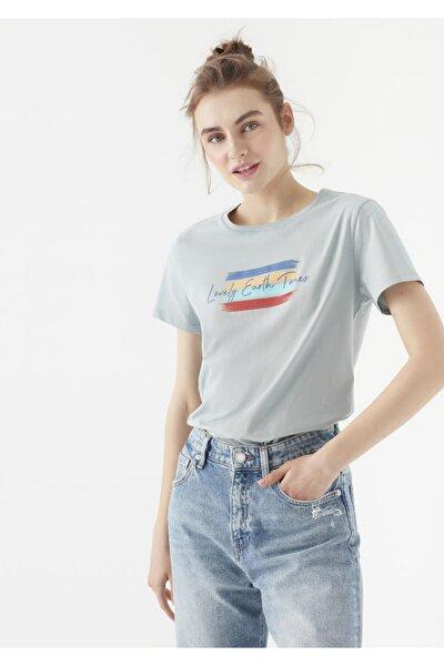Lovely Earth Tones Baskılı Gri Tişört 1600718-34080