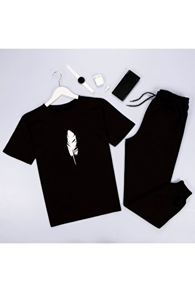 Unisex Siyah Kuş Tüyü Eşofman Takımı Düz Siyah