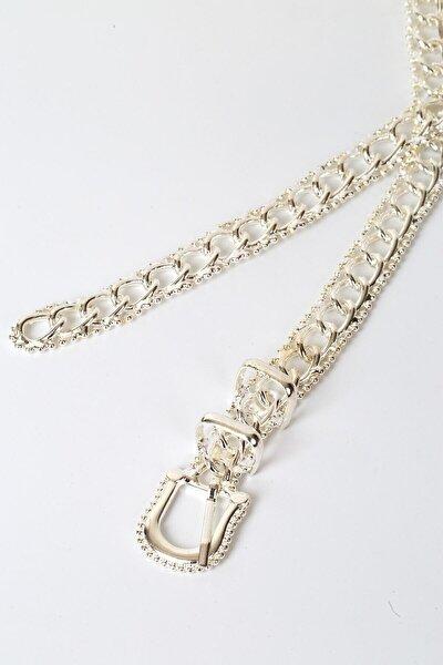 Çift Köprülü Zincir Model Gümüş Kemer 100 cm
