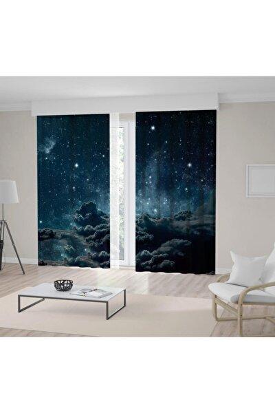 Fon Perde Baskılı Grili Bulut Gece Gökyüzü Desenli