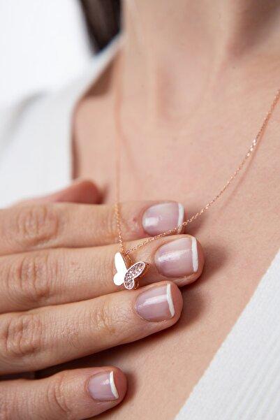 Kadın Beyaz Taş Detaylı Kelebek Model Gümüş Kolye 925 Ayar